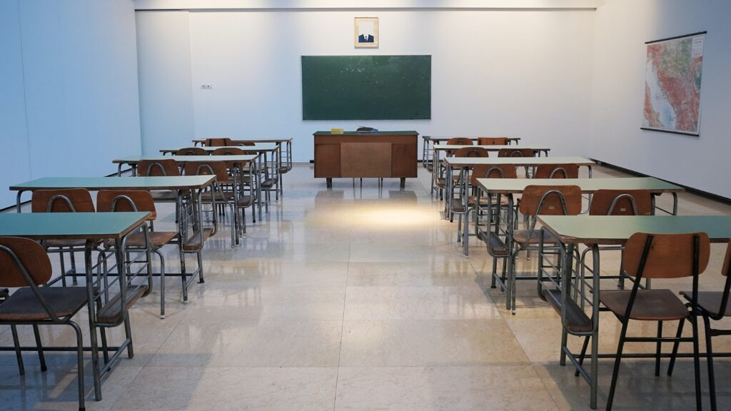 Empty classroom during COVID